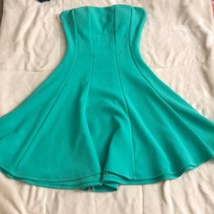 Body central teal strapless dress